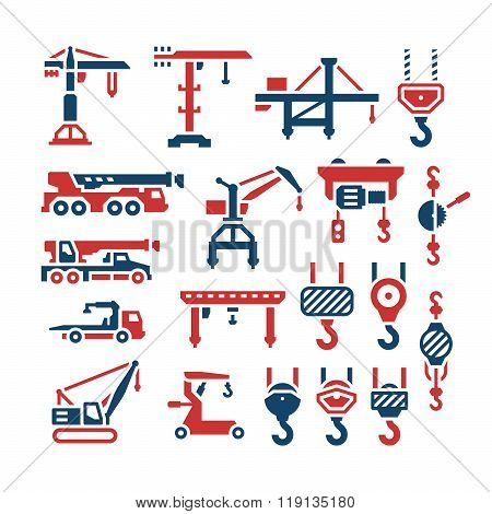 Set color icons of crane, lifts, winches and hooks