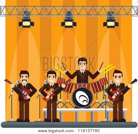 music band on stage. performance or entertainment show