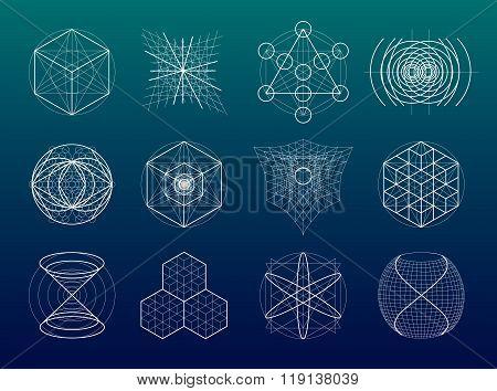 Sacred Geometry Symbols And Elements Set.