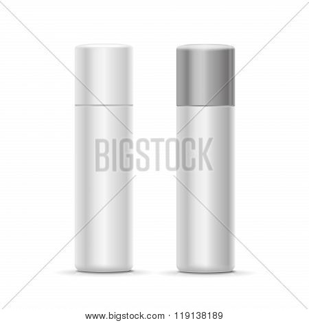 White and silver bottle spray cosmetic deodorant for perfume,   freshener or hairspray.