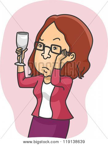 Illustration of a Girl Inspecting a Glass of Wine