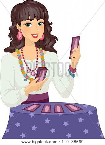 Illustration of a Girl in Gypsy Costume Reading a Tarot Card
