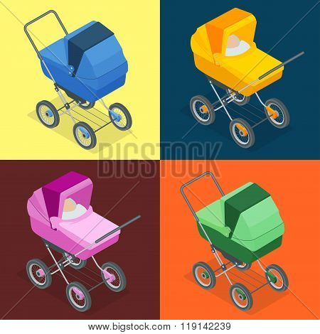Baby pram, pushchair, stroller, perambulator. Vector 3d flat isometric illustration.