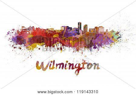 Wilmington Skyline In Watercolor