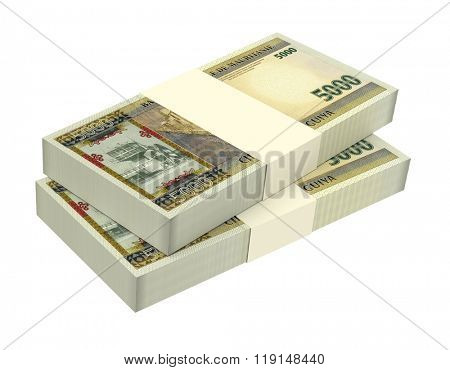 Mauritanian ouguiya bills isolated on white background. Computer generated 3D photo rendering.