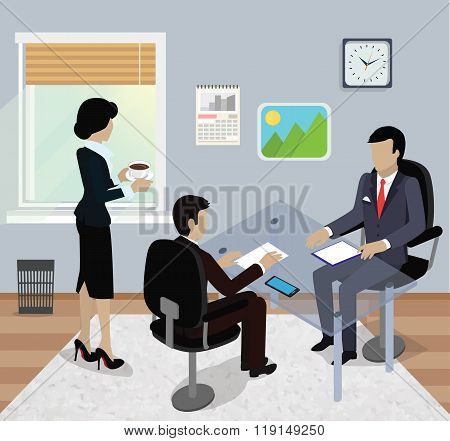 Isometric Business Meeting in Office Flat Design