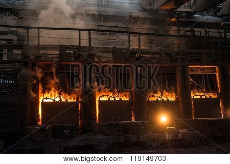 Very rare close view of working open hearth furnace