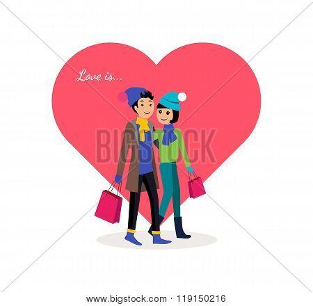 Happy Valentine Day Couple Shopping