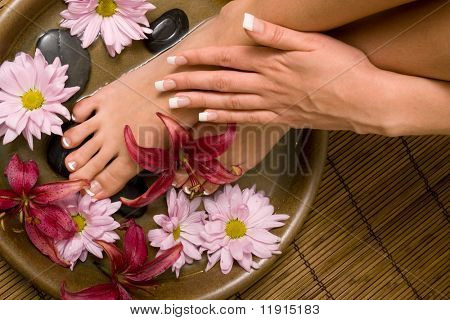 Woman washing her hands in water