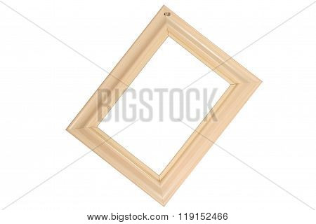 Wooden photo frame hanging on a nail