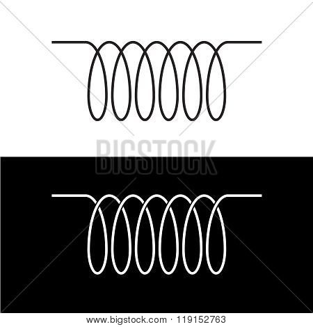 Induction Spiral Electrical Symbol. Black Linear Coil Element Sign.