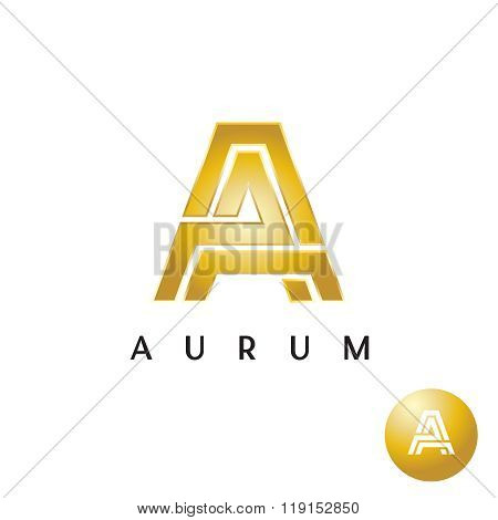 Letter A Golden Style Wide Lines Logo
