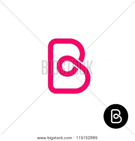Letter B Logo Monolyne Wireframe Style.