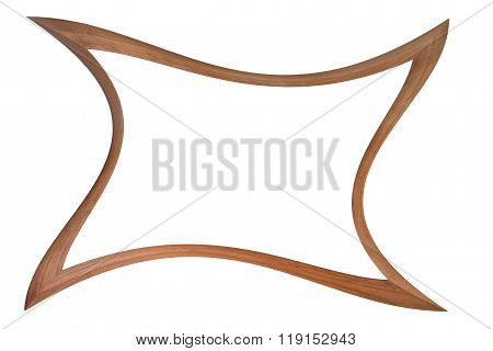 Wooden photo frame of a curved futuristic shape