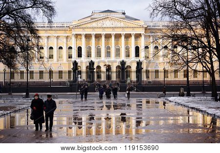 ST. PETERSBURG, RUSSIA - FEBRUARY 22, 2015: People against the main facade of Mikhailovsky palace. Built in 1819-1825 by design of Carlo Rossi, the palace houses the Russian Museum since 1895