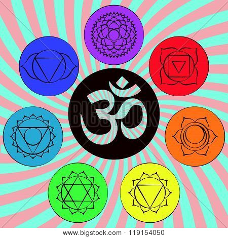 Chakra pictograms and symbol OM in the centre. Set of chakras used in Hinduism, Buddhism and Ayurved