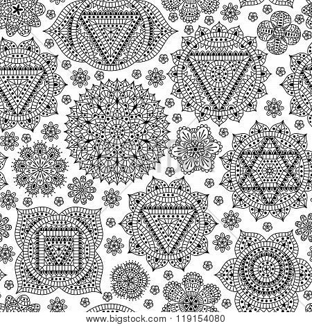 Seamless pattern with seven chakras. Oriental ornaments for henna tattoo and for your design. Buddhi