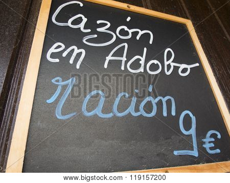 Spanish Dogfish Marinade Menu