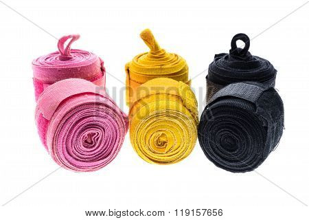 Different Color Boxing Wraps Or Bandages Isolated On White