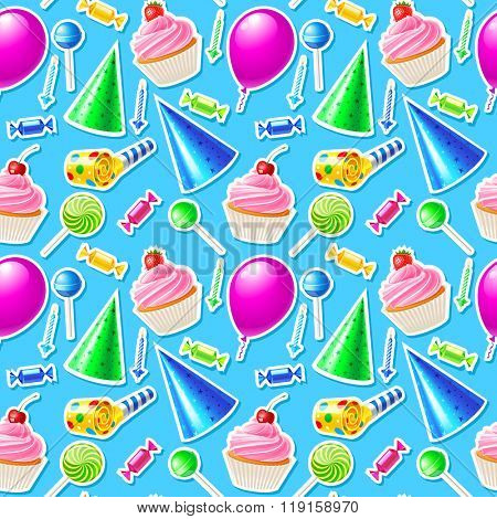 Happy Birthday seamless pattern. Vector illustration 10eps