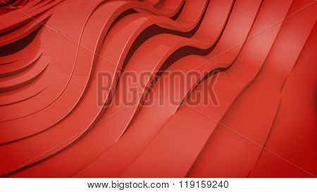 Abstract 3D Wavy Band Surface.