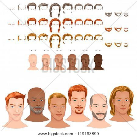 Male avatars. 8 hairstyles and 3 facial hairs in 3 different colors, 6 eye colors, 6 skin tones for multiple combinations. In this image, some previews. Vector file, isolated objects.
