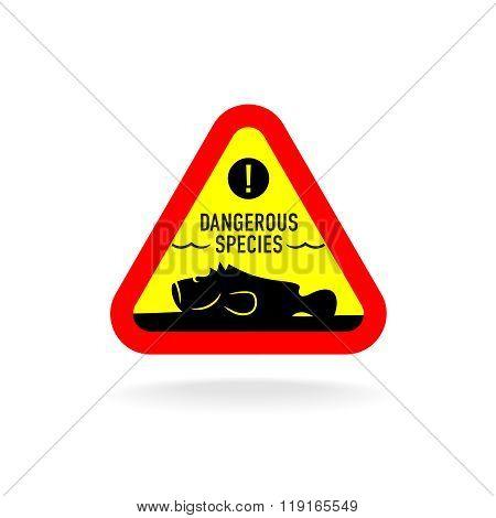Dangerous Species Warning Sign. Stonefish Underwater On The Bottom Silhouette.