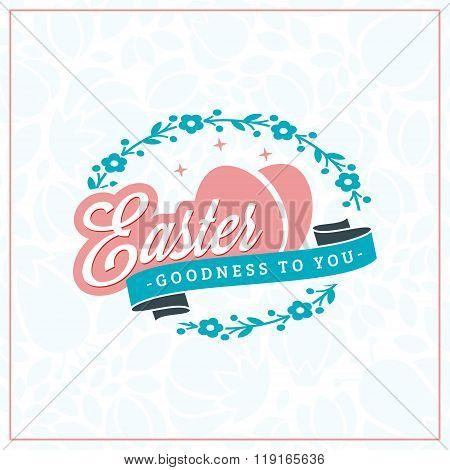 Happy Easter. Vector Vintage Holiday Badge. Vector Template For Greeting Card. Floral Background. Ha