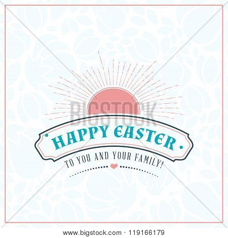 Happy Easter. Vector Vintage Holiday Badge. Vector Template For Greeting Card. Floral Background.