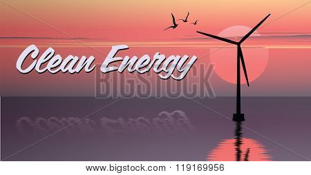 vector illustration of windmill. electric windmill in the sea. windmill at sunset. windmill at sunri
