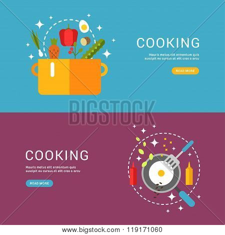 Cooking Concept. Fried Eggs In A Frying Pan. Soup In The Pan. Set Of Templates For Web Banners With