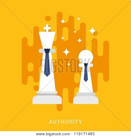 Business Concept. Authority. Vector Illustration In Flat Design Style. Chess Figures With Ties