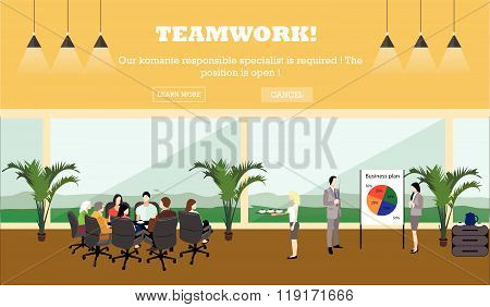 Business meeting concept banner. Office interior. Vector
