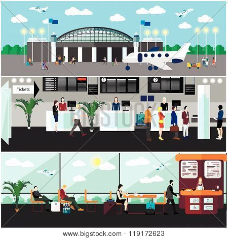 Airport terminal concept vector illustration. Design elements and banners in flat style. Air ticket office, check-in counters and waiting area. Travel concept. poster