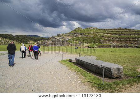 People Visit The Ancient Sacsayhuaman Walls