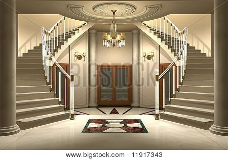 3D render of an upscale home entrance