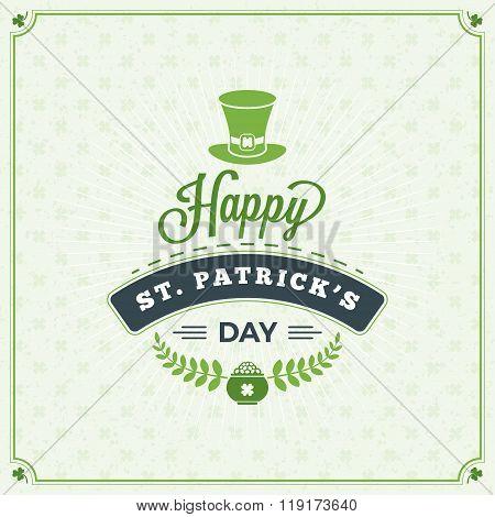 St. Patrick's Day Vintage Holiday Badge. Vector Greeting Card Design. Saint Patricks Day Background.