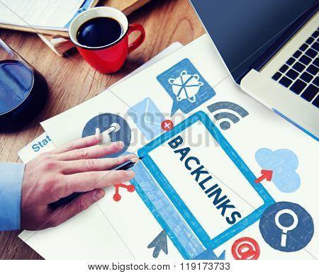 Backlink Hyperlink Networking Internet Online Technology Concept