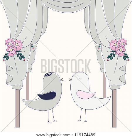Hupa With Birds. Jewish Wedding Invitation.