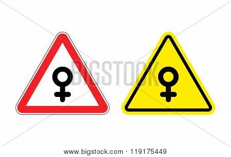 Warning sign of attention woman. Yellow danger girl. Female symbol on red triangle. Set of Road signs poster