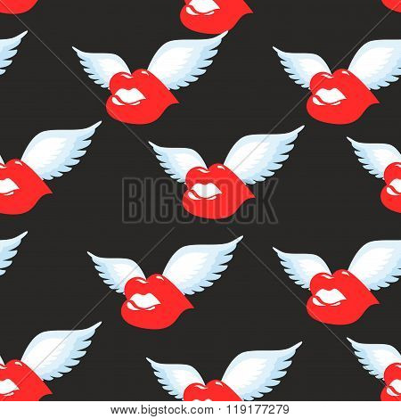 Kiss Seamless Pattern. Red Luscious Lips With Wings Background. Ornament Of  Flying Kiss. Air Kiss O