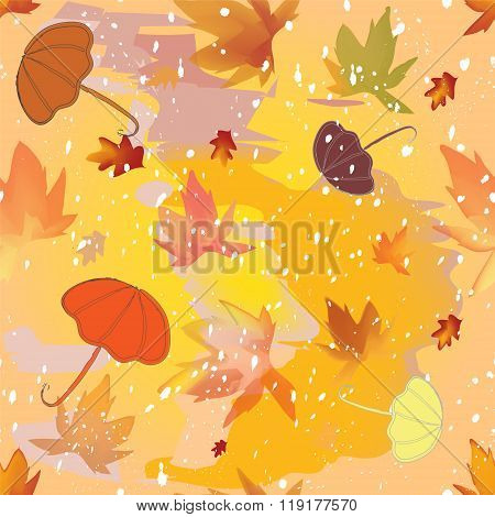 Autumnal Seamless Pattern With Umbrellas,leafs,sleet On Grunge Stained Colorful Background
