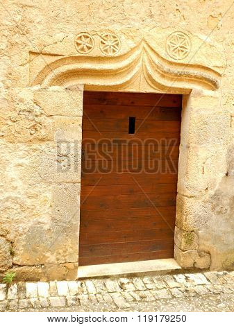 Medieval Door with Carved Stone Lintel