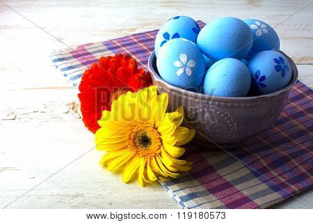 Blue Easter Decorated Eggs