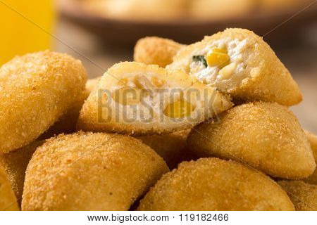 Rissole - Corn And Cheese Rissole Served With Chili Sauce On Wooden Background.