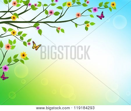 Vector Spring  Background of Tree Branches with Growing Leaves