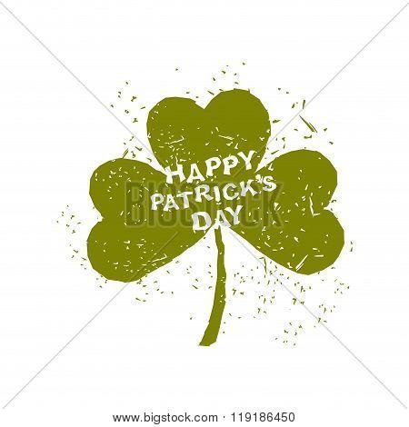 Happy St. Patrick's Day. Clover Grunge. Logo For National Irish Spring Festival