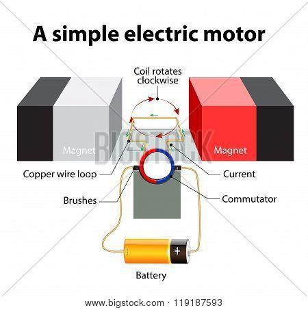 Simple Electric Motor. Vector Diagram