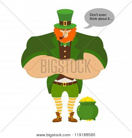 Leprkeon And Gold. Serious Powerful Leprechaun Protects Pot Full Of Gold Coins. Strong Midget Leprec