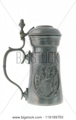 Pewter tankard from tin isolated over white background